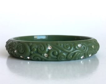 Olive Green Bangle with Rhinestones - Molded Lucite with Ivy Vines, Swirls, Curls, Dots, and Sparkling Stones - Vintage Moss Green Bracelet