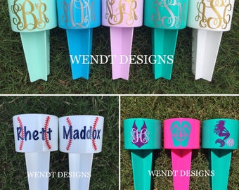 Personalized Beach Cup Holder, Includes Vinyl Decal - Beach Spiker - Monogram Decal - Beach Spike - Drink Holder - Sand Spike