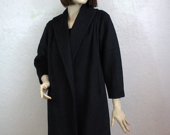 "1950's ""Lilli Ann"" Black Woolen Coat / Size: Small"