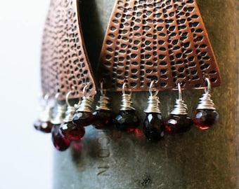 Dangle Earrings--handstamped copper--gift-for-her--boho gift for mom--chandelier earrings--etsymetal team--sara westermark