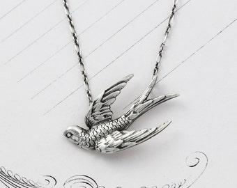 Sterling Silver Bird Necklace, Victorian Style Swallow Bird in Flight Pendant, Bohemian Love Token Bridal Anniversary Gift Jewelry