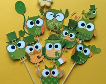 St. Patrick's Day owl cupcake toppers, Irish party, St. Patrick's Day party, St. Patrick's Day cake topper, Owl party, St. Patty's day party
