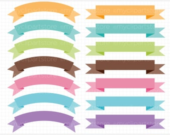 Ribbons - Rainbow Ribbon Banners Blog Header Banners Clip Art / Digital Clipart - Instant Download