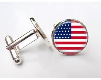 American Flag Cufflinks- Gift for Veterans - USA Flag Cufflinks - Men's Olympian Souvenir - red white blue silver