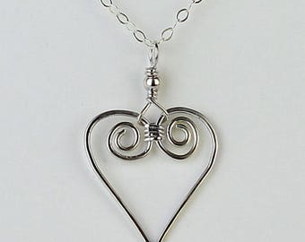 Handmade Wire Heart Necklace, Sterling Silver, Hammered Heart, Sterling Silver Heart Pendant, Small Spiral Heart, Petite, Romantic Gift,