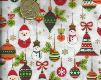 Christmas quilting fabric with Santa Claus, bells etc