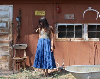 Vintage southwestern denim tiered skirt // western skirt // tiered skirt