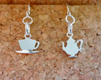 Teapot & Teacup Mismatched Pair of Earrings 925 Sterling Silver