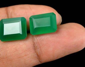 13.40 Ct Natural Emerald Cut Green Onyx Emerald Loose Gemstone Matching Pair Christmas Gift