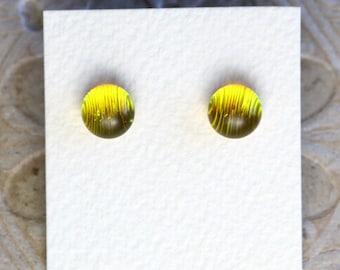 Dichroic Glass Earrings, Marigold DGE-975