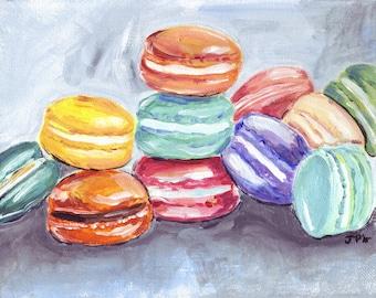 Macarons Acrylic Art - Laduree Macarons Still Life Art - Colorful Kitchen Art - Food Illustration 8x10 Print