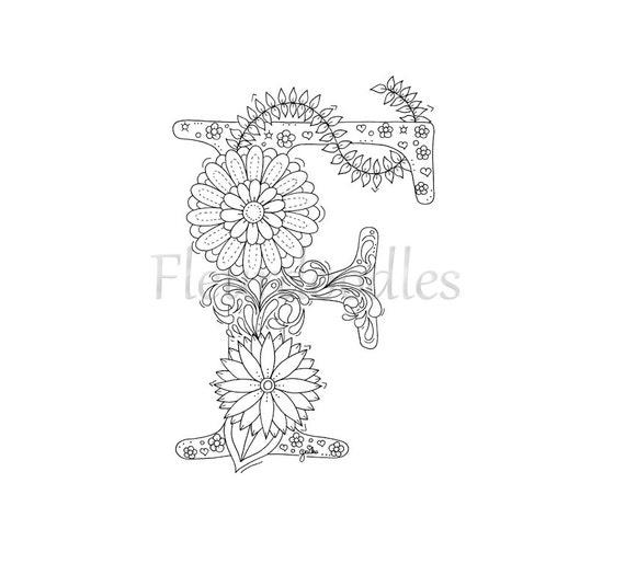 Malseite zum Ausdrucken Buchstabe F floral