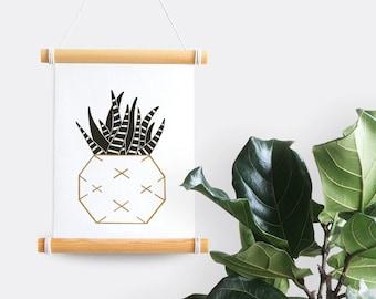Cactus gold & black print (criss-cross pot, A5 risograph)