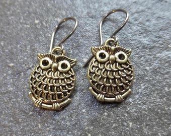 Antique Gold Owl Earrings With Hypoallergenic Niobium Ear Wires - Woodland - Wildlife - Bird - Boho