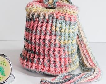 Crochet Bucket Bag in orange-gray and yellow color way