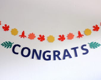 Banner Set 'Congrats' + Tropical Flowers and Leaves - Custom Banner