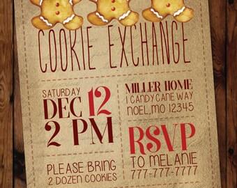 Christmas Cookie Invitation, Holiday Cookie Exchange Invitations, Cookie Swap Invitation, Oh Snap, Gingerbread Invitations #003