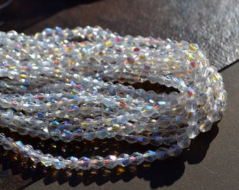 Crystal AB 4mm Bicone Czech Glass Beads  50