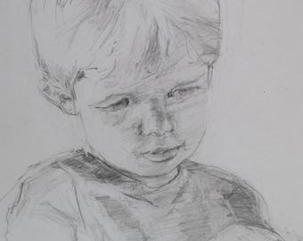 Contour Line Drawing Face : Sketch of young boy etsy