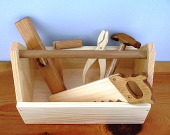 Wooden Tool Box with Pretend Wood Tools/child's gift
