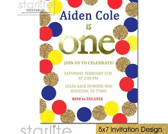 First Birthday Invitation Boy Primary Colors, 1st Birthday Invitation Boy Printable, Red Blue Yellow Gold Dots Birthday Invite Printed