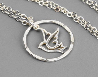 Peace Dove Necklace - Silver Circle Necklace - Inspirational Jewelry - Religious Jewelry - Infinity Necklace - Christian Necklace for Her