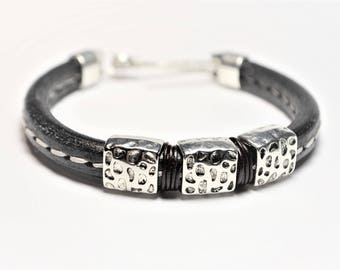 Licorice Leather Black Stitched Bracelet, Regaliz Bracelet, Leather Bracelet decorated with 3 Regaliz Silver Tone Spacer Beads