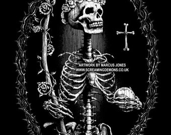 Santa Muerte, Day of the Dead Art, Dia De Los Muertos ,NOT (day of the dead T-shirt,Day of the dead jewelry,day of the dead bag)