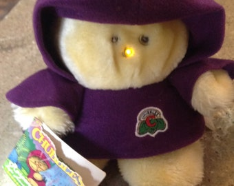 Vintage Chubbles Toy Plush 1984 Purple Stuffed Animal Tag Works Great Lights Up