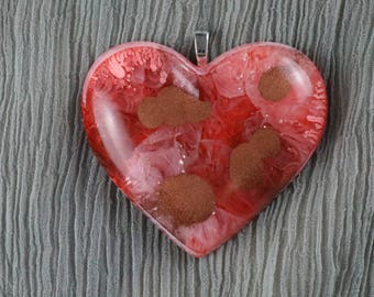 Resin Art Heart Pendant, Red and Copper, Alcohol Ink Art, Handmade, Unique, Great Gift