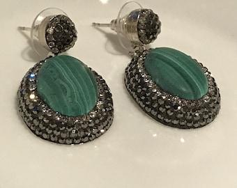 Gem and Cyrstal Turquoise Drop Handmade Earrings
