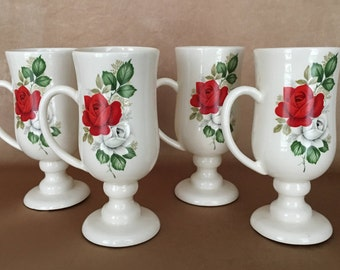 50s Ceramic Mugs, Red Rose Mugs, Retro Kitchen, 1950s Props, Tall Footed Mugs, Halls Coffee Mugs, Shabby Chic Style, Floral, Pedestal Mugs