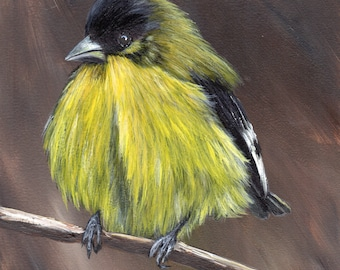 Bird Art - Bird Painting - Lesser Goldfinch -SFA- Original Wildlife Acrylic Painting - Bird lover Gift - Wall Art -  Realistic Bird