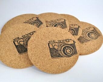Cork Coasters, Camera Coasters, Round Coasters, photography theme, set of 6