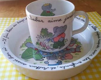 Cup play and dish/Laurent de Brunhoff/babar/elephant/haviland limoges plate for children/children/cup kids Cup /