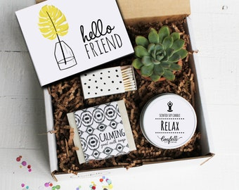 Hello Friend Gift Box - Spa Gift Set   Friend Gift   Best Friend Gift   Coworker gift   Thinking of you gift   Gift for friend   Candle Gift