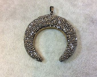 Pave Rhinestone Encrusted Wood Crescent Pendant with Gray Rhinestones and Attached Bail - Measuring 50mm x 50mm, Approx.