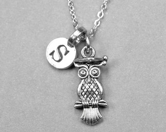 Owl Necklace, Owl charm, Graduation gift, Graduation Necklace, Owl Jewelry, initial necklace, initial jewelry, personalized, monogram letter