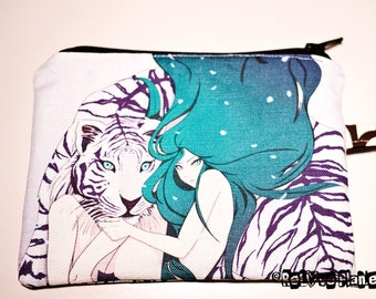Frosted Goddess - Tiger anime artwork - Zippered Pouch - Coin Purse Wallet - Cosmetic bag - Bianca Loran Art