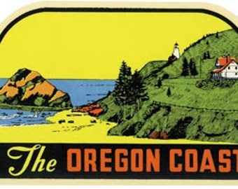 Vintage Style Oregon Coast  Travel Decal sticker