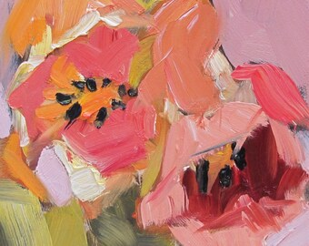 abstract , small oil , floral , pink , orange , original , tulips , housewarming gift , 8 x 6 , board , contemporary , hand painted , oil