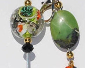 Laying Tool - Stitch Remover -  Scissor Fob - Set - Lampwork - Aquarium - Chrysophrase - Cross Stitch - Embroidery - Needlepoint - Quilting