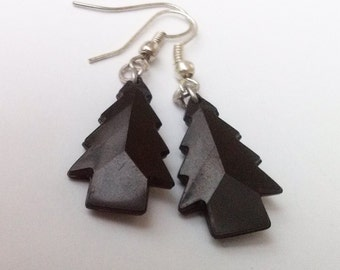 Black Tree Earrings , Gothic Earrings , Black Earrings , Silver Earrings , Handmade Jewelry , Handmade Jewellery , Dangling Earrings