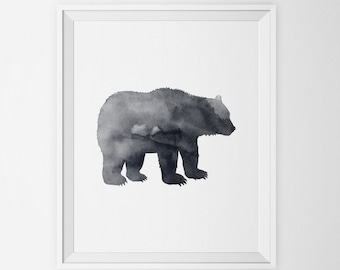 Black Bear Silhouette Watercolor Art Print, Woodland Animal Wall Art, Bear Silhouette, Printable Bear Art Poster Forest Animal Nursery Decor
