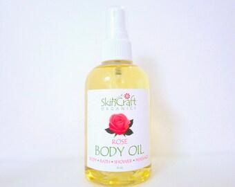 Rose Body Oil - Rose Bath Oil - Rose Moisturizing Oil - Massage Oil - Natural Rose Fragrance - For All Skin Types - Gift for Women - 4 oz