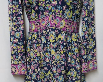 Emilio Borghese Vintage 70s Navy Purple Green Floral Mod Dress L/XL