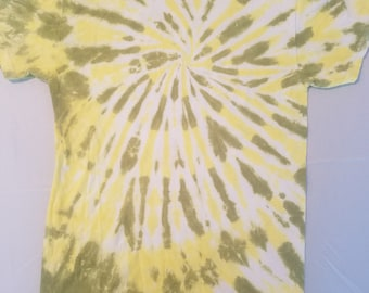 Adult S Avocado and Yellow Tie Dye Spiral T-Shirt