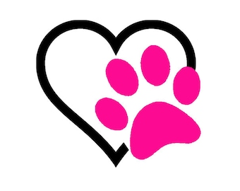 Heart with paw vinyl car decal for your favorite pet