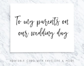 parents wedding day, card for parents, printable parent card, wedding day parents, thank you parents, wedding day card download