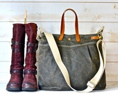 Waxed canvas bag, diaper bag , waxed canvas tote, messenger bag, waxed bag, dark khaki green, Leather straps, Men messenger, Vogue